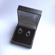 Large Black Leatherette Earring Gift Box
